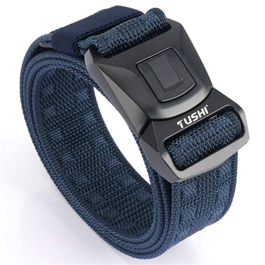 Nylon Belts For Men Metal Pluggable Buckle Durable Training Black Canvas Army Belt Non-Slip Hunting Fishing Sports Accessories durable black canvas and nylon canvas adjustable for police utility security belt with quick release buckle