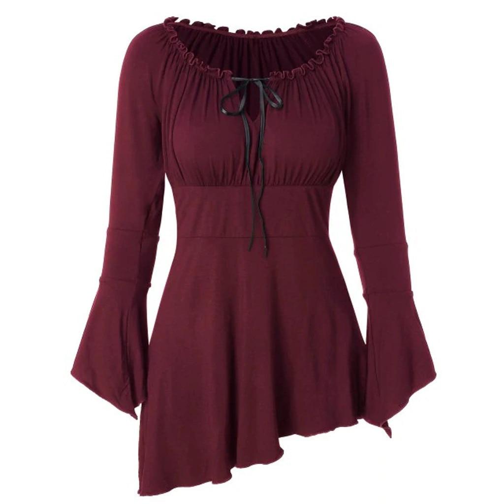 Blusa con lazo de moda manga de campana informal de Invierno para mujer túnica parte inferior de la camisa de manga larga para mujer
