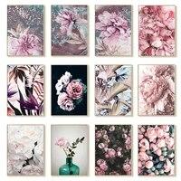 BRICOLAGE peinture numerique acrylique mode rose fleur plume numerique peinture a lhuile peinte a la main decoration de la maison art mural
