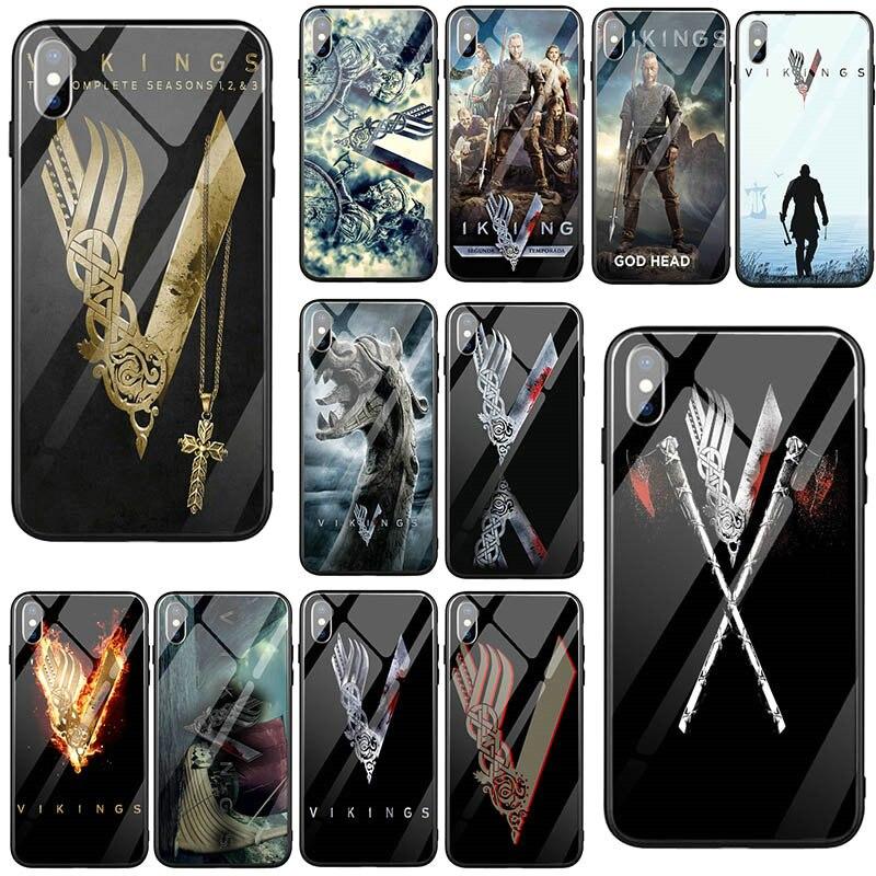 Vikings Ragnar Vikings Logo Verre Trempé Mobile Housse pour iPhone 5 5S SE X XR XS 11 Pro Max 10 7 6 6s 8 Plus Sacs
