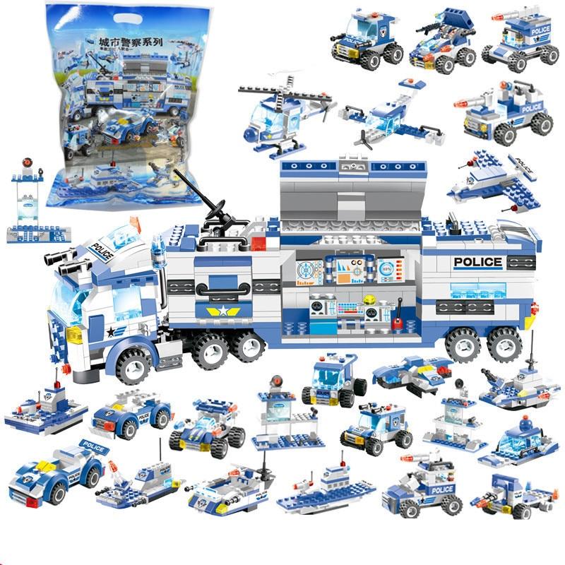 762 Uds. Robot de policía de ciudad avión coche conjunto de bloques de construcción modelo SWAT Playmobil creador conjunto juguetes educativos para niños