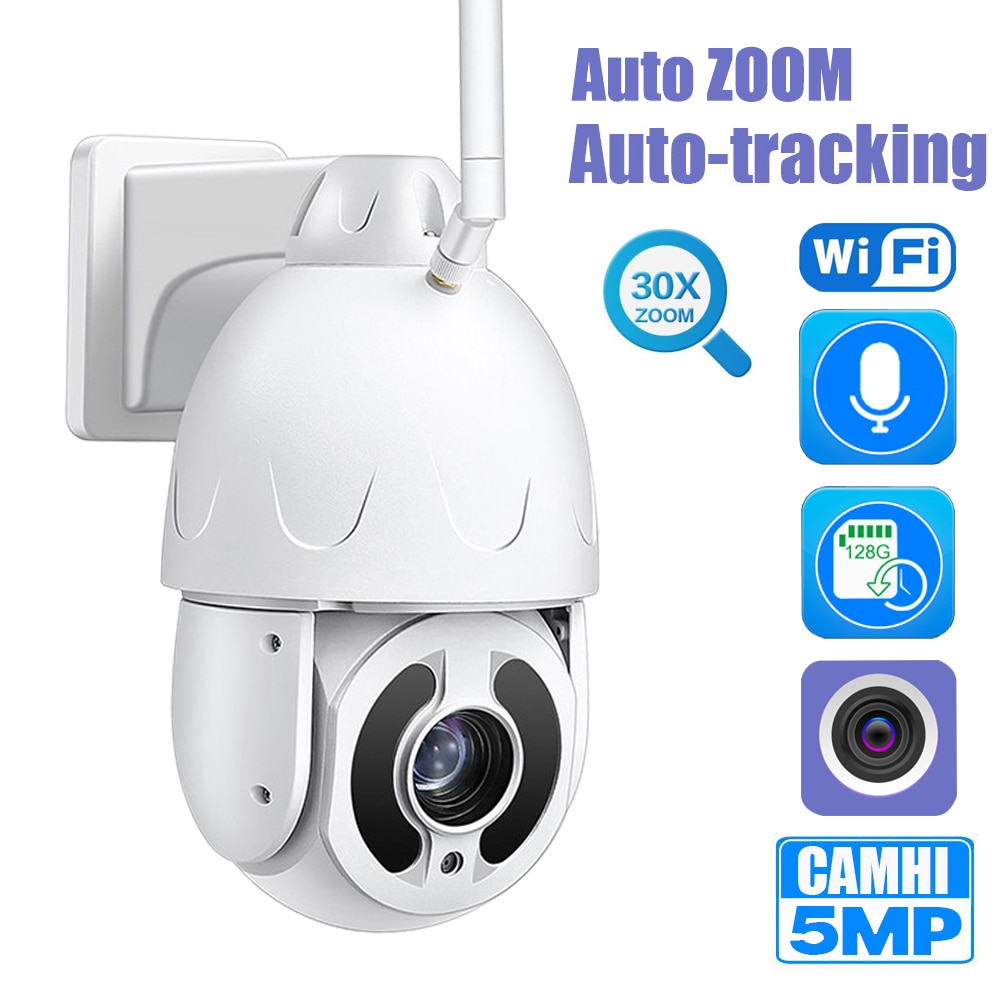 5MP واي فاي IP PTZ كاميرا بشكل قبة مع 30x السيارات تتبع السيارات التكبير سوني IMX335 كشف الإنسان الصوت الحديث بطاقة SD ذاكرة CamHi APP