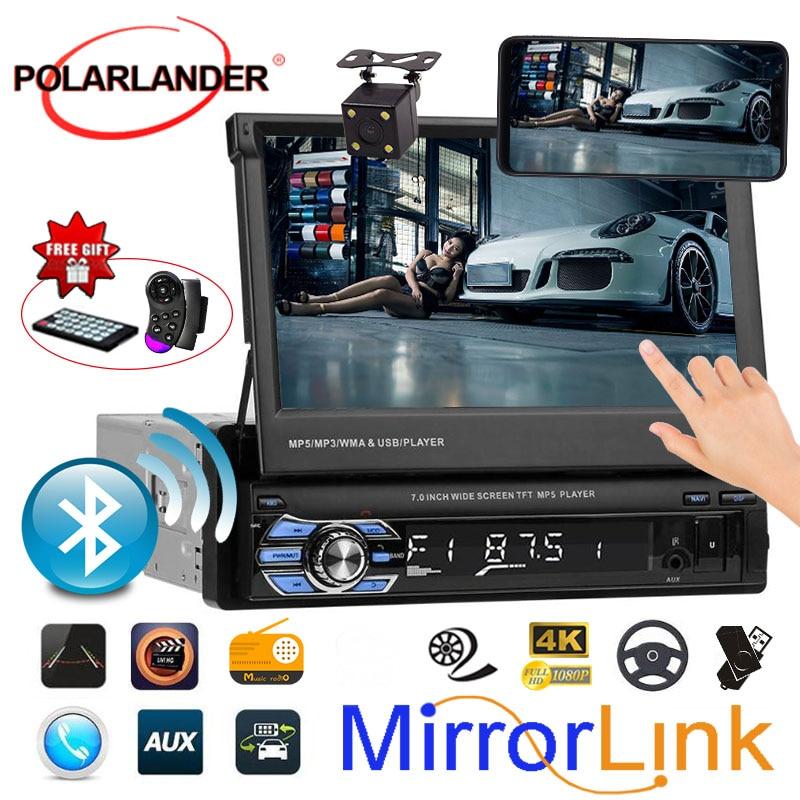 Versenkbare 1 Din Radio Auto Stereo Audio 7 zoll MP5 MP4 Player Aux/USB/TF/FM/touchscreen/bluetooth 3 sprachen menü Spiegel Link