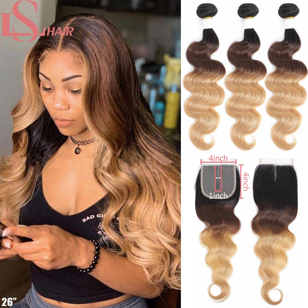 AliExpress - LS HAIR Brazilian Body Wave Hair Weave 3/4 Bundles With Closure Blonde 1B/4/27 Remy Ombre Human Hair Bundles With T Lace Closure