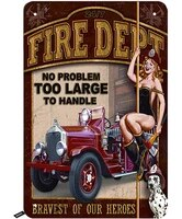 fire dept tin signssexy pink up girl with car and dog vintage metal tin sign for men womenwall decor for barsres