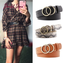Double Ring Women Belt Fashion Waist Belt PU Leather Metal Buckle Heart Pin Belts For Ladies Leisure