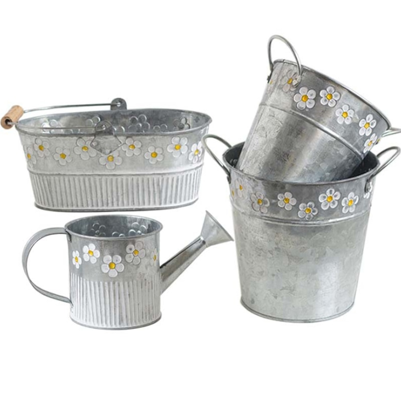 Vintage Metal Iron Basket Bucket Plants Flower Pot Home Garden Planter Holder Garden Watering Flower Container Gadget