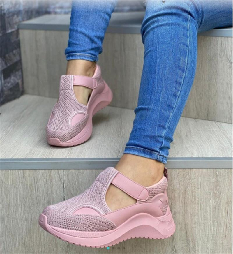 Women Sneakers Outdoor Autumn Fahsion Hollow Platform Female Footwear Hook Loop Solid Color Breathable Women Vulcanized Shoes