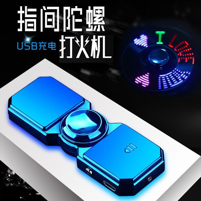 Inflatable Lighter Fingertip Gyro Glow In Dark Light Fidget Spinner Hand Top Spinners Stress Cigarette Accessories Men's Gift E enlarge