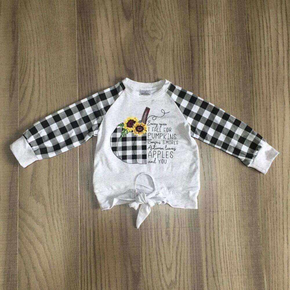 Ropa de mamá e hija, camisa a cuadros de Halloween para bebés y niñas, ropa de otoño para bebés con calabaza de girasol