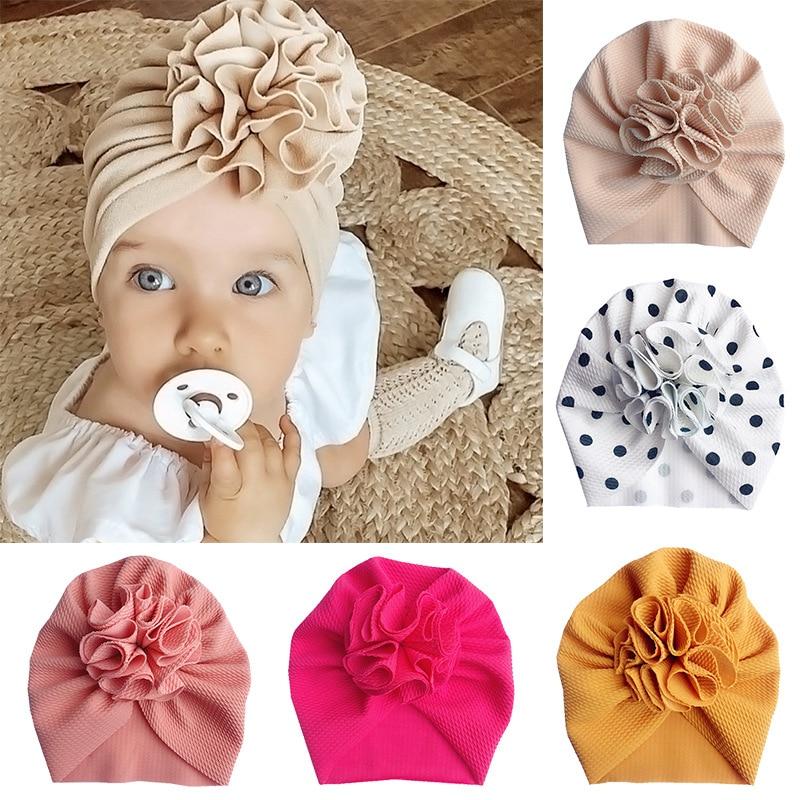 Cute Flower Baby Hat Toddler Turban Infant Head wraps Kids Bonnet Newborn Toddler Beanie Cap for 0-1