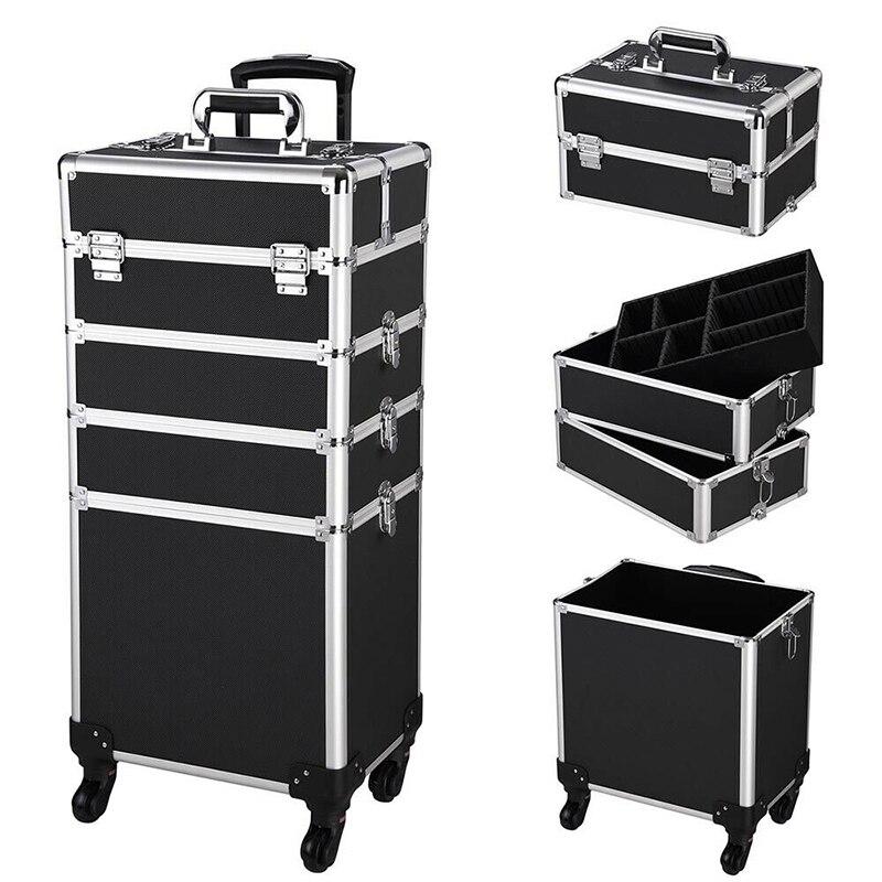 حقيبة مستحضرات التجميل 4 في 1 ، حقيبة سفر ، حقيبة مكياج احترافية ، حقيبة سفر بعجلات أمتعة ، حقيبة منظم مكياج من الألومنيوم