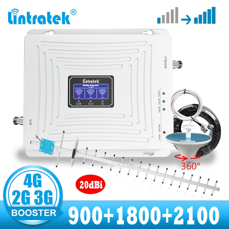 lintratek 2g 3g 4g tri band cellular signal booster mobile phone  gsm 3g 4g LTE repeater amplifier + 20dBi yagi antenna kit
