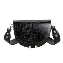 Elegant Crocodile Pattern Crossbody Bag For Women Half Round Solid Pu Leather Luxury Handbag Women Bag Should bags Shopping Bag