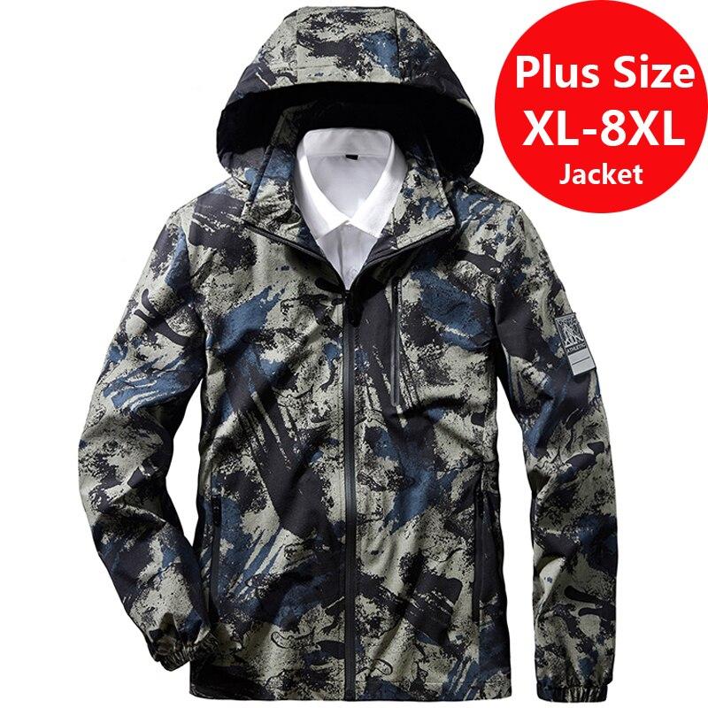 Chaqueta táctica rompevientos militar de talla grande 7XL 8XL para hombre, chaqueta de ejército impermeable para hombre, abrigo de carga Softshell para hombre