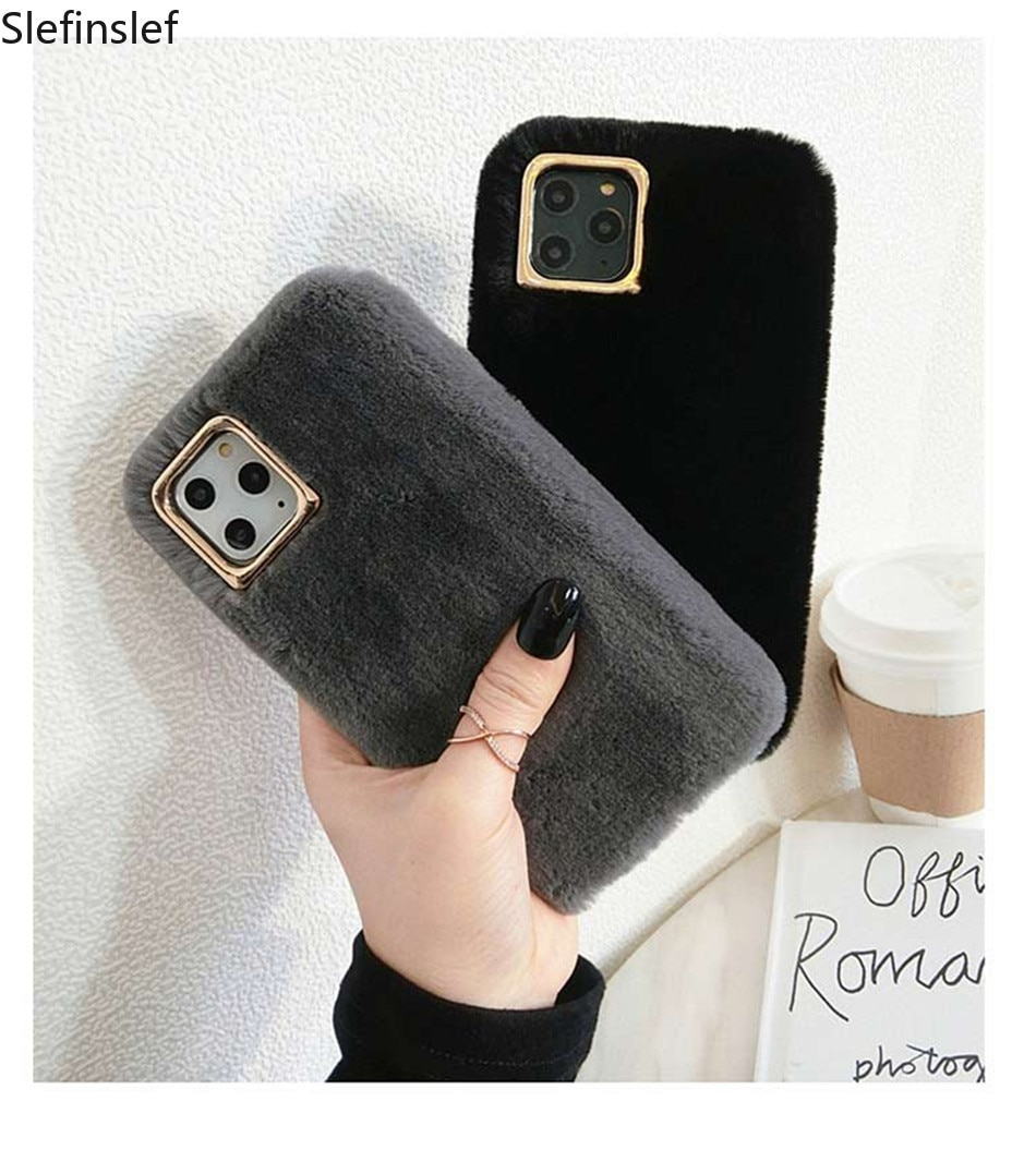 Funda de teléfono de piel peluda de felpa para iPhone 11 Pro X XS XR Max 6 6s 7 8 Plus Marco de lente de Metal Color sólido suave TPU