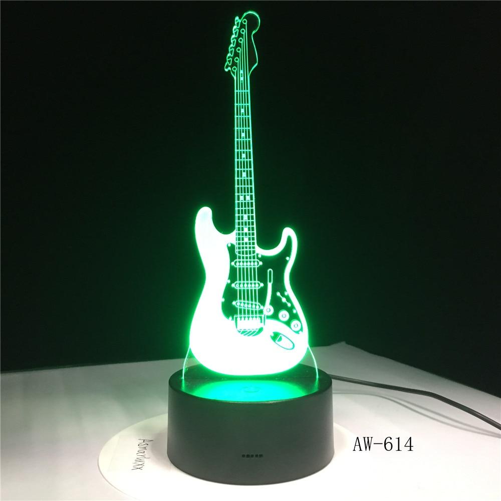 Luz 3D guitarra eléctrica ilusión lámpara LED 7 cambio de color USB Sensor táctil Luz de escritorio lámpara de noche amigos regalo oficina L AW-614