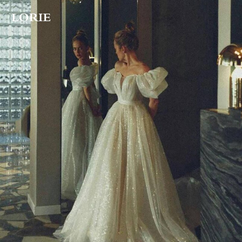 LORIE بريق لامع تول الأميرة فستان الزفاف 2021 ألف خط نفخة كم فستان عروس مخصص بوهو نمط ثوب زفاف