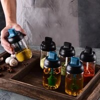 spice jar with spoon lid seasoning organizer glass sauce oil bottle kitchen gadget sets honey jar salt and pepper shaker set