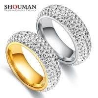 shouman big size 6 13 fashion unique titanium steel 5 row clear crystal engagement ring gold color for women jewelry gift