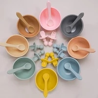 baby feeding flatware set toddler plate and spoons infant silicone sucker bowl kids leakproof food bowl with mini fork spoon