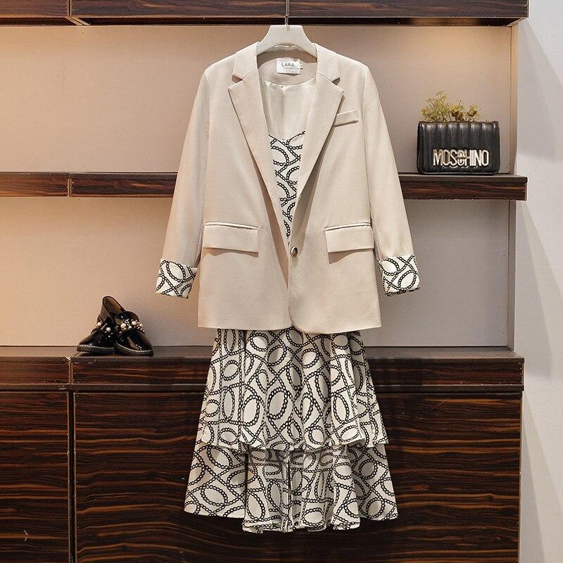 ¡Novedad de 2020! Conjuntos para mujer de talla grande, chaquetas de primavera y otoño, vestido con tirantes, chaqueta, 2 conjuntos de dos piezas, M259