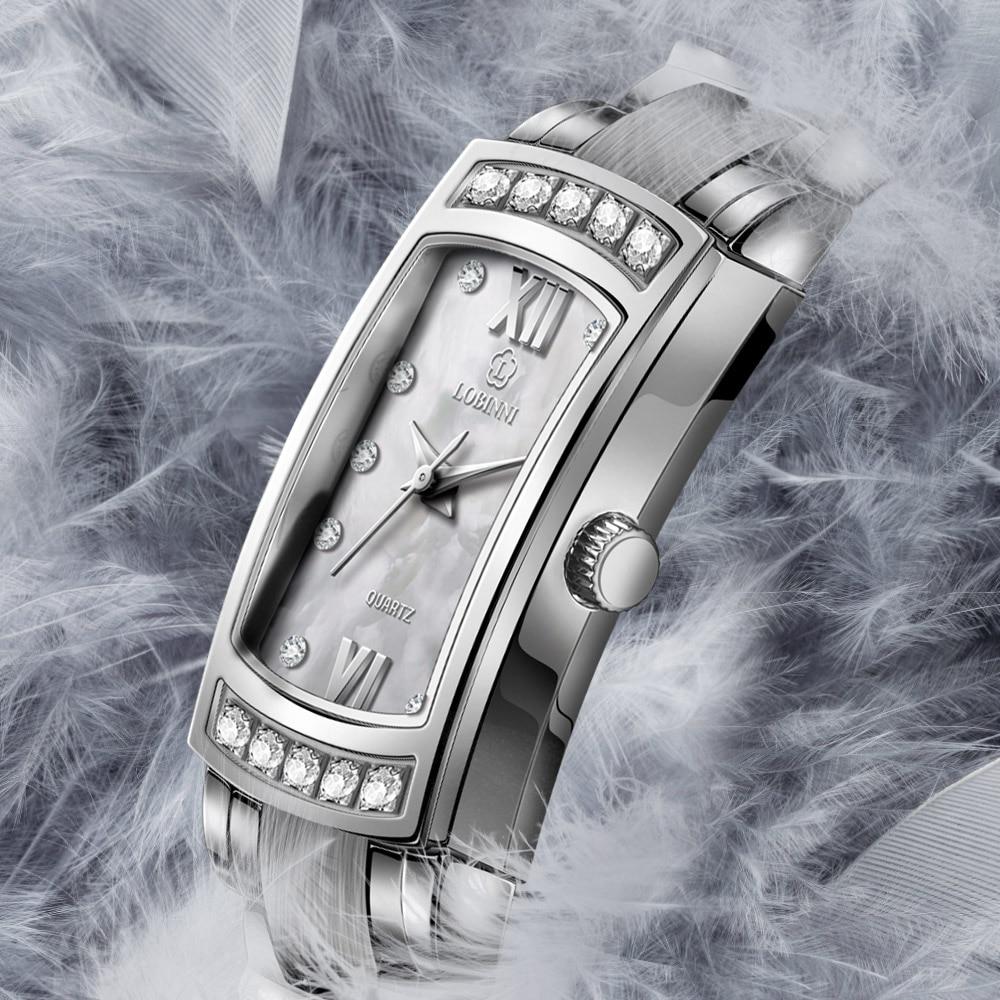 Suiza marca relojes LOBINNI Ultra-delgada de reloj de cuarzo de moda de las mujeres relogio femenino resistente al agua reloj L8014