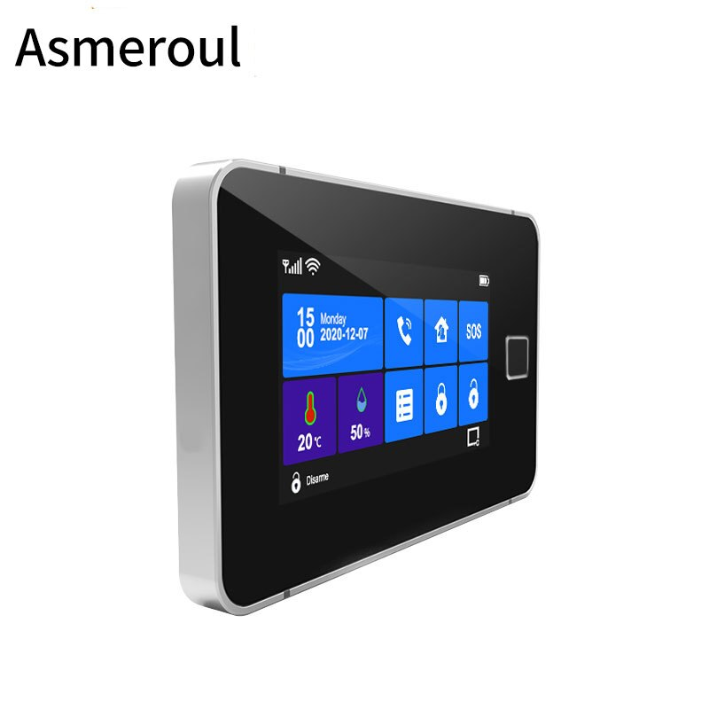 Wifi GSM Alarm System 433MHz Home Burglar Alarm Wireless Wired Sensor TFT Touch Keyboard Fingerprint Arming Temperature Humidity enlarge