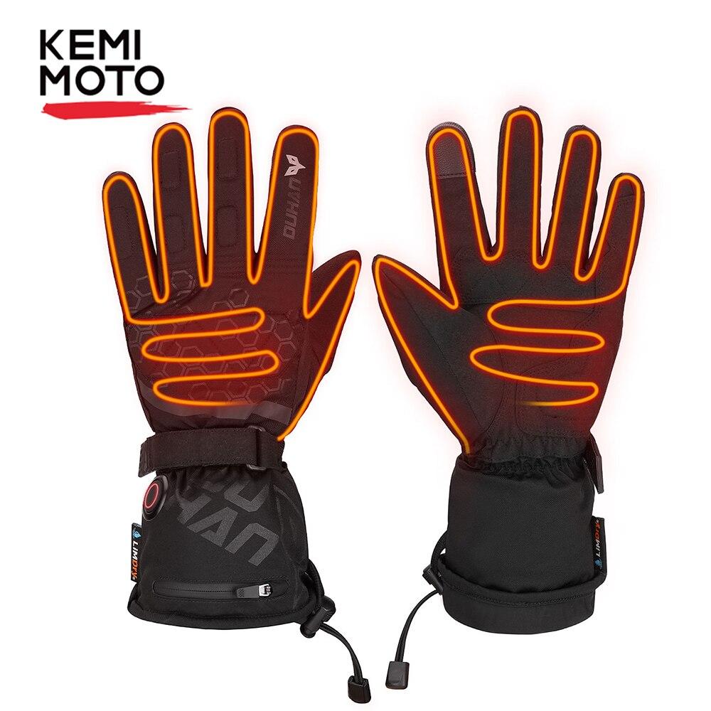 KEMIMOTO  Winter Rechargeable Battery Heated Gloves Full Fingers Heating Winter warm Ski Gloves Men Women Waterproof Tactical Mi