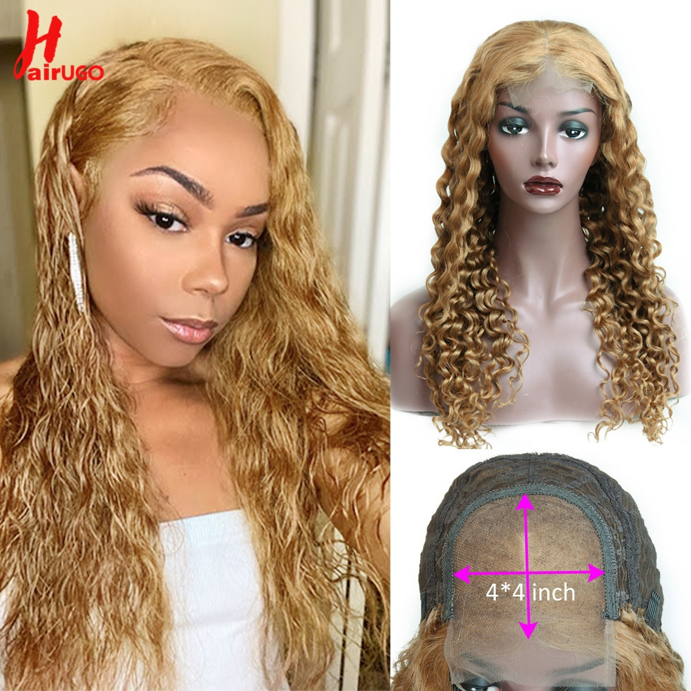 HairUGo Wate Wave 27# Honey Brown Lace Closure Human Hair Wigs With Baby Hair Remy Preplucked Curly Colored Wigs For Women 180%