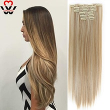 MANWEI Clips In Hair Extentions Women Natural Hair Extensions 6 Pcs/Set 16 Colors 22 Inch Synthetic