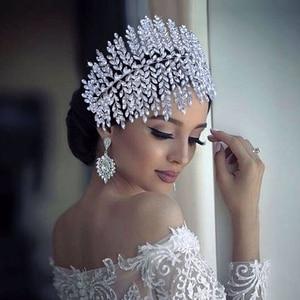 TRiXY H238 Colorful Wedding Tiaras Sparkle Diamonds Bridal Crown Bridal Hair Jewelry Wide Rhinestone Headband Bridal Headpieces