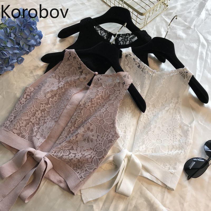 Korobov verano apertura en la espalda lazo mujeres cortas Chaleco de punto de encaje Patchwork ahuecado Sexy mujer Tank Tops mujer 77795