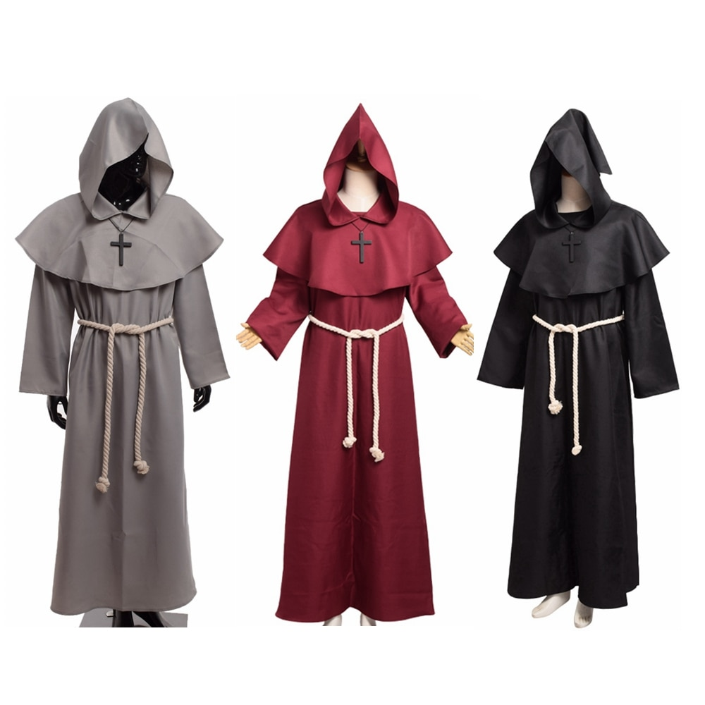 Medieval Costume Men Women Friar Renaissance Monk Priest Cosplay Hooded Mantle Robe Dress