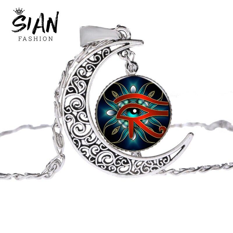 Ojo Retro Siano de Horus collar egipcio Dios poder ojo patrón cristal gema media luna colgantes Unisex amuleto joyería