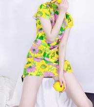 Cheongsam collar Retro floral printed women dress 2020 summer new short-sleeved slim A-line lady mini dress