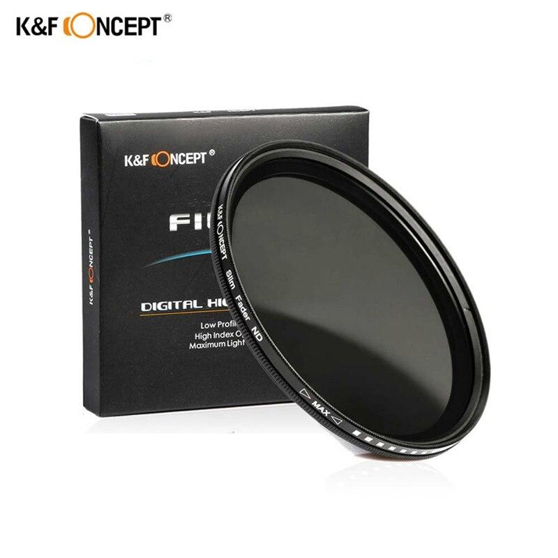 K & F concepto 37-82mm 52MM 58MM 62MM 67MM 72MM 77MM Fader fino Variable Filtro de lente ND ajustable ND2 a ND400 de densidad Neutral
