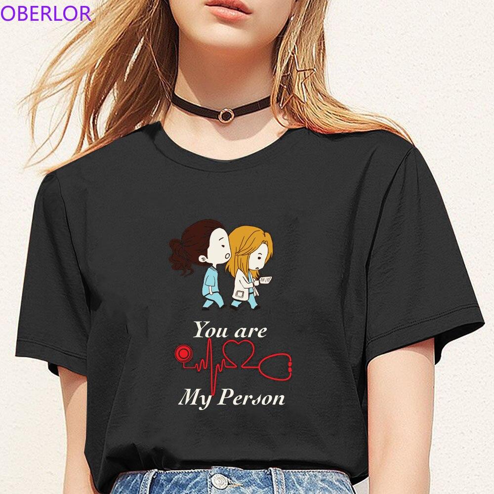 Camiseta Harajuku Kawaii a la moda con bonitos dibujos de grises, camiseta con gráfico de You Are My Person de anatomía para mujer, camiseta de manga corta para chicas