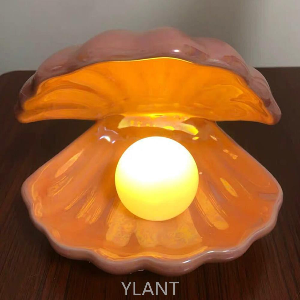 YLANT Ceramic Shell Pearl Lamp Bedroom Decor Night Light Streamer Fairy Shell for Girl Home Decoration Bedside Lamp Girl Gift enlarge