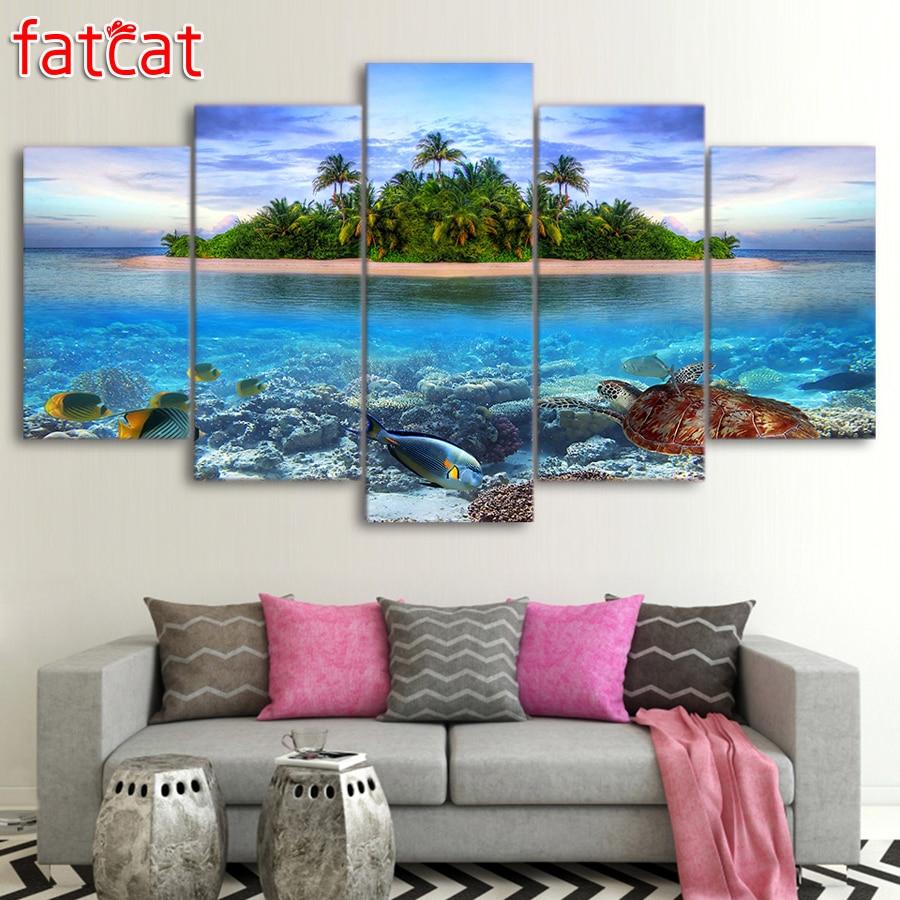 Gato gordo 5 piezas Vida Marina isla Tropical mar tortuga peces palmeras Diy diamante pintura completa diamante bordado venta AE960