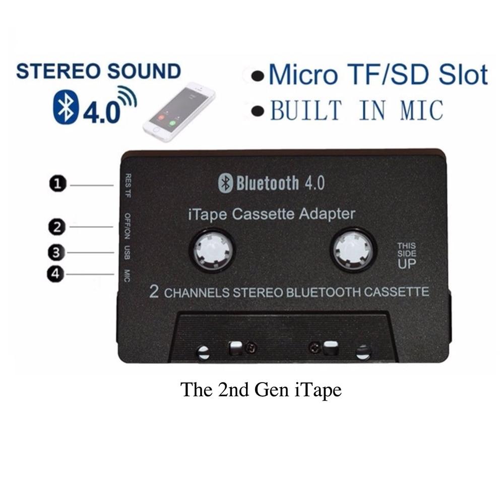 أحدث لاسلكي iTape CSR بلوتوث V4.0 + EDR ستيريو الصوت كاسيت لاعب استقبال محول يمكن أن تعمل أثناء الشحن ل سطح السيارة