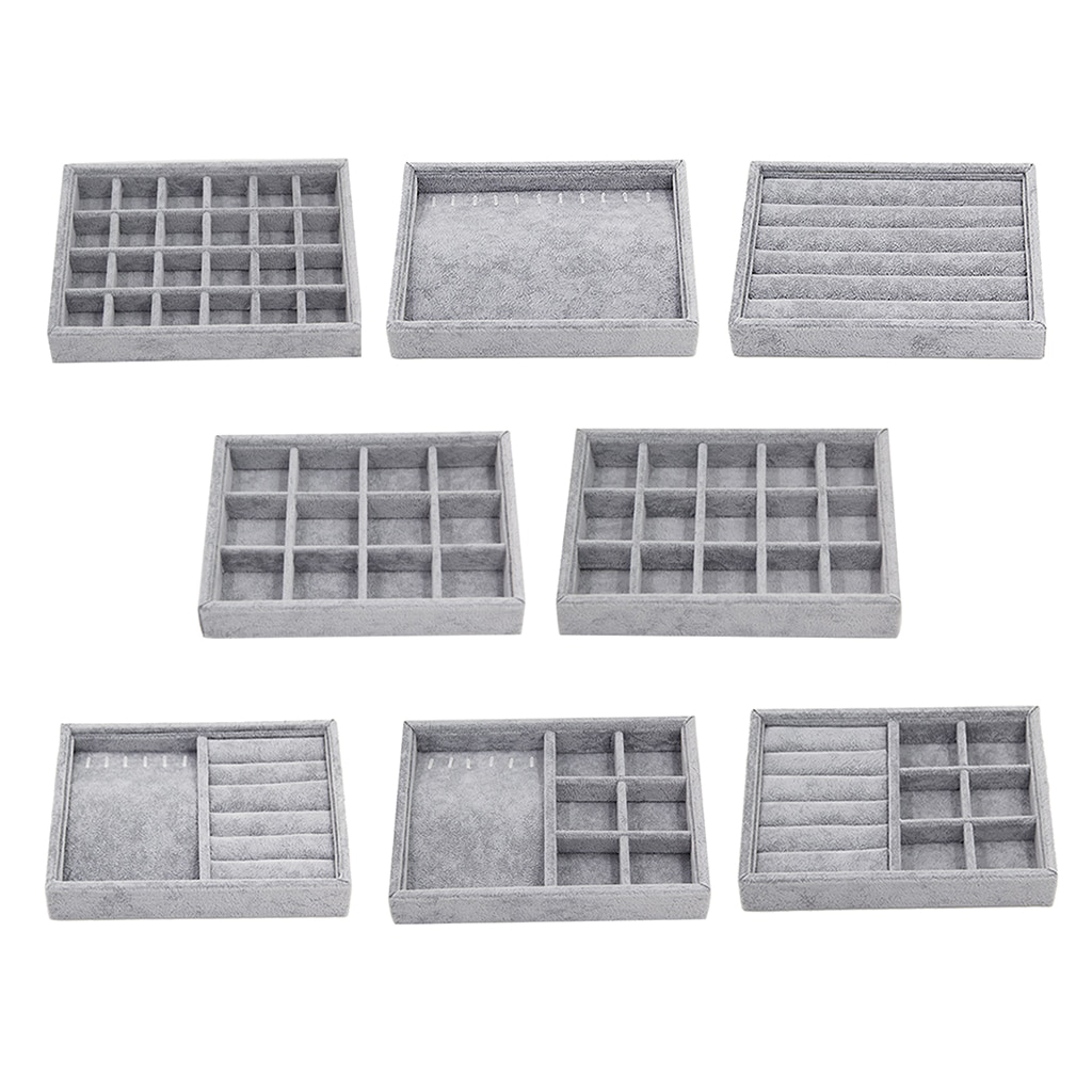 Gray Velvet Stackable Jewelry Display Tray Case for Jewellery Hot Sales Fashion Portable Velvet Jewe