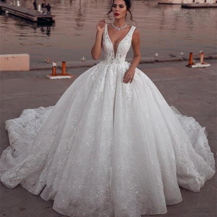 Glamous-vestidos de novia con apliques, V profundo con escote en traje de...