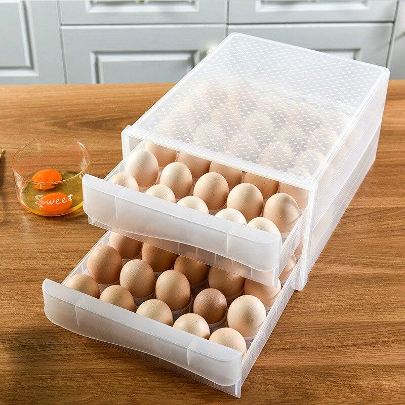 صندوق تخزين البيض المنزلي ، درج ثلاجة ، صندوق زلابية بلاستيكي شفاف ، صينية بيض مزدوجة الطبقة