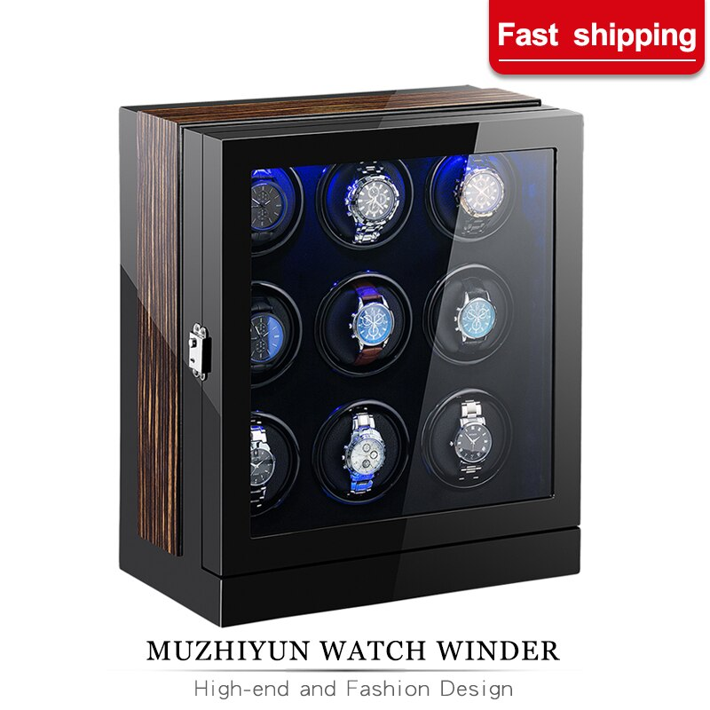 Automatic Watch Winder Box 9 Slots Mechanical Display Wooden Watch Accessories With Silent Japanese Motor And adapter