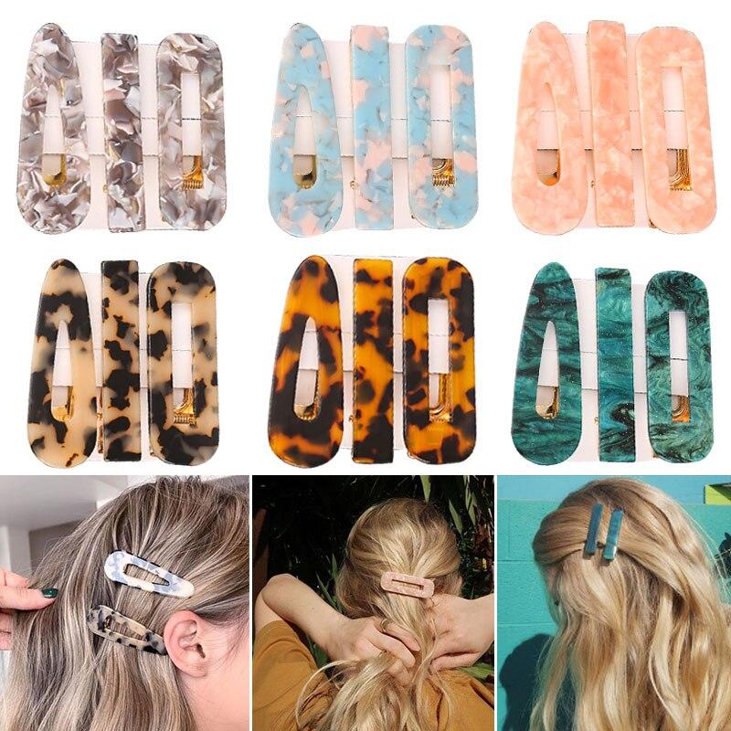 aliexpress.com - 1/2/3 PCS Women Fashion Leopard Acetate Geometric Hair Clips Vintage Hairpins Barrettes Hair Accessories All Match Hair Clips