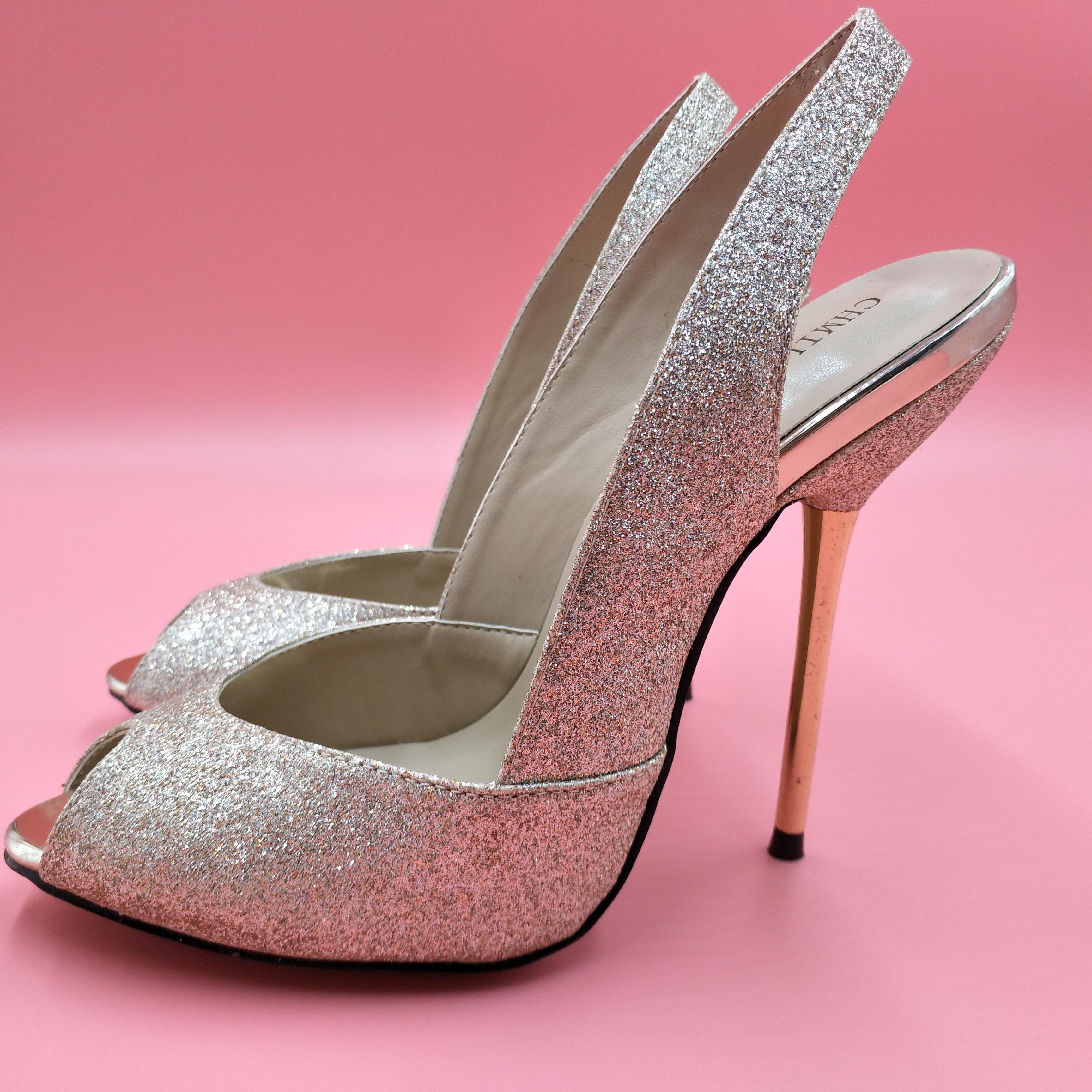 Sexy Gold Glitter bombas alto talón Bridals vestido fiesta mujeres bombas verano nuevo Peep Toe Sling Back Stiletto boca de pez 11cm tacones