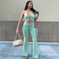 2021 solid belt tube top sexy tanks hollow out tank crop top pants 2 pieces set summer women streetwear party club outfits y2k