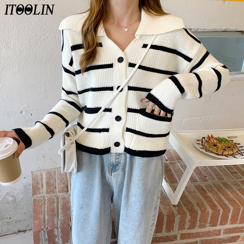ITOOLIN Autumn/Winter Loose Striped Knit Cardigan Sweater V-neck Crop Top Long Sleeve Single Breaste