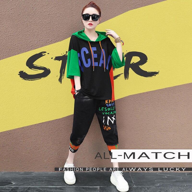 De dos piezas conjunto Sudadera con capucha, camiseta de las mujeres suéter trajes de verano damas 2 pieza conjunto Denim Pantalones vaqueros de jogging pantalones sudadera 2020